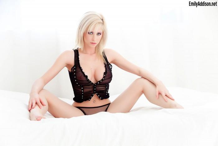 Emily Addison - Black Lingerie Pussy Spread