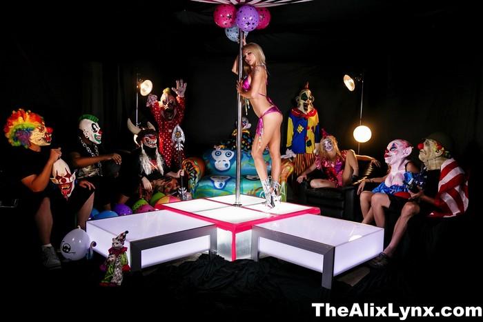 Crazy Clown Strip Club lesbian fucking! - Alix Lynx