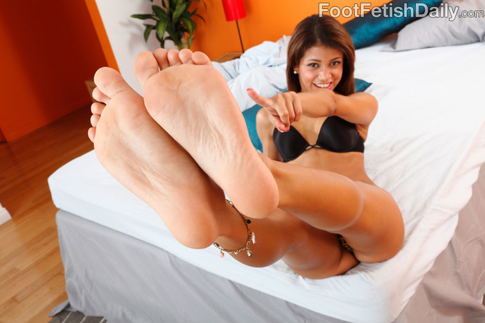 Veronica Rodriguez Gives a Footjob and Rides the Cock Deep