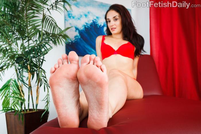 Sheena Ryder Wraps Her Sexy Feet Around a Black Cock